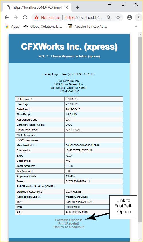 PaymentCardXpress - Sale Transaction